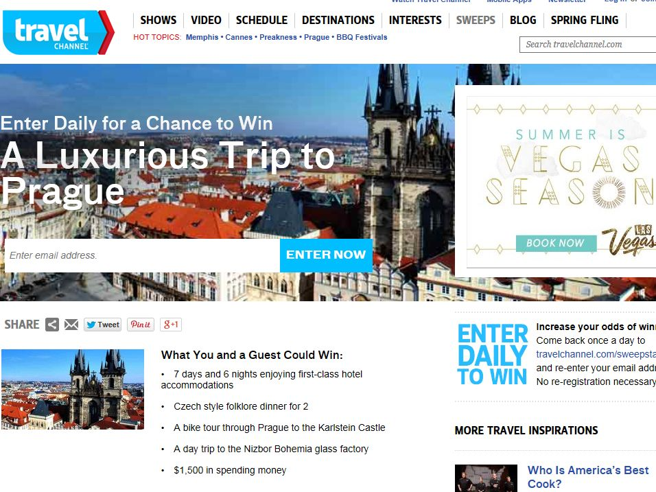Travel Channel May 2014 Sweepstakes