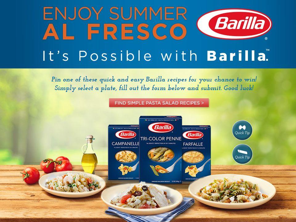 Barilla Simple Al Fresco Summer Sweepstakes