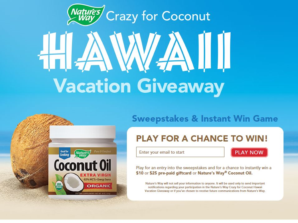Nature's Way The Crazy for Coconut Hawaii Vacation Giveaway