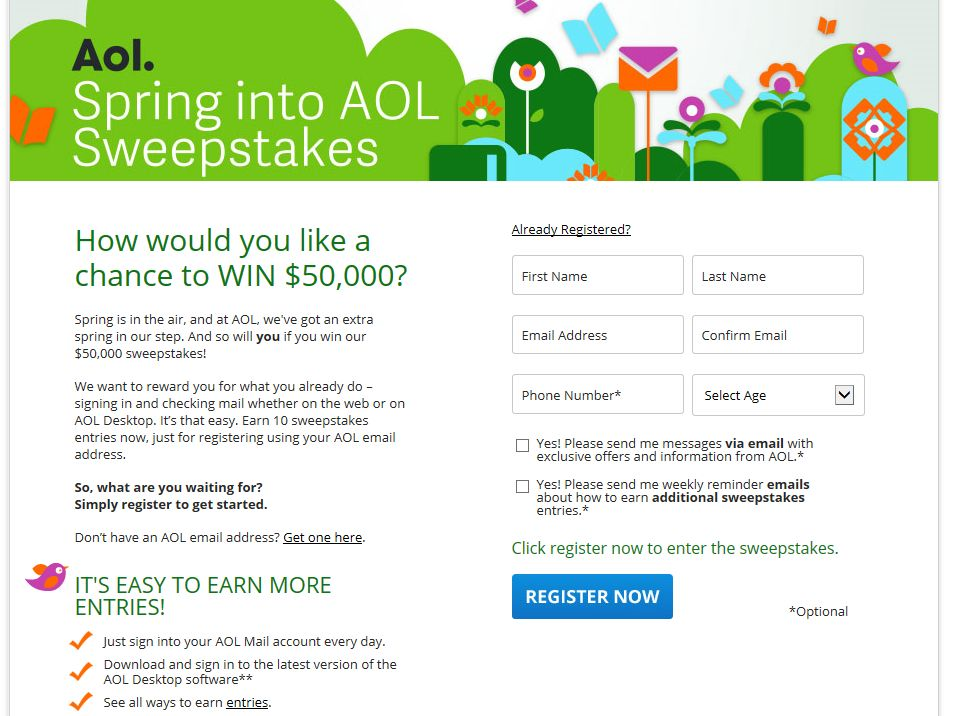 Spring into AOL Sweepstakes (AOL Email Address Required)