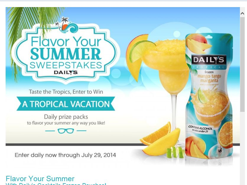 Daily's Cocktails Flavor Your Summer Sweepstakes
