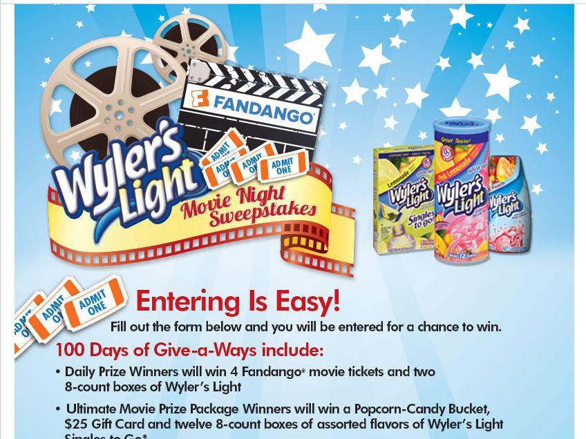 """Wyler's Light """"Movie Night"""" Sweepstakes"""