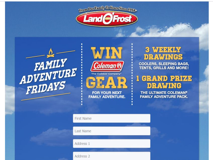 """Land O'Frost, Inc. """"Family Adventure Fridays"""" Sweepstakes"""
