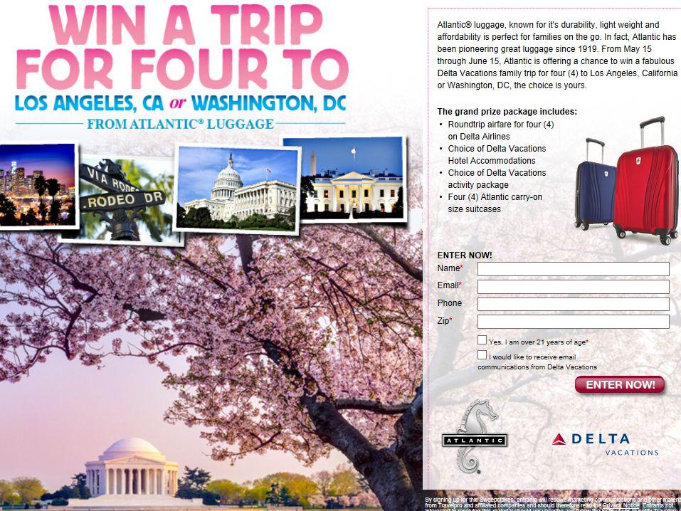 The Atlantic Luggage Trip to Los Angeles or Washington, DC Sweepstakes