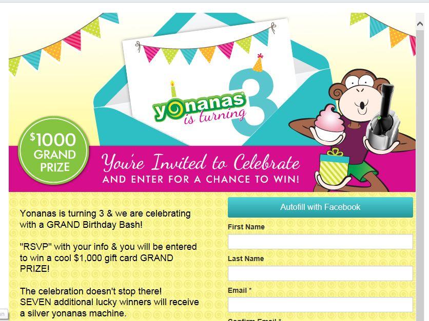 Yonanas GRAND Birthday Sweepstakes