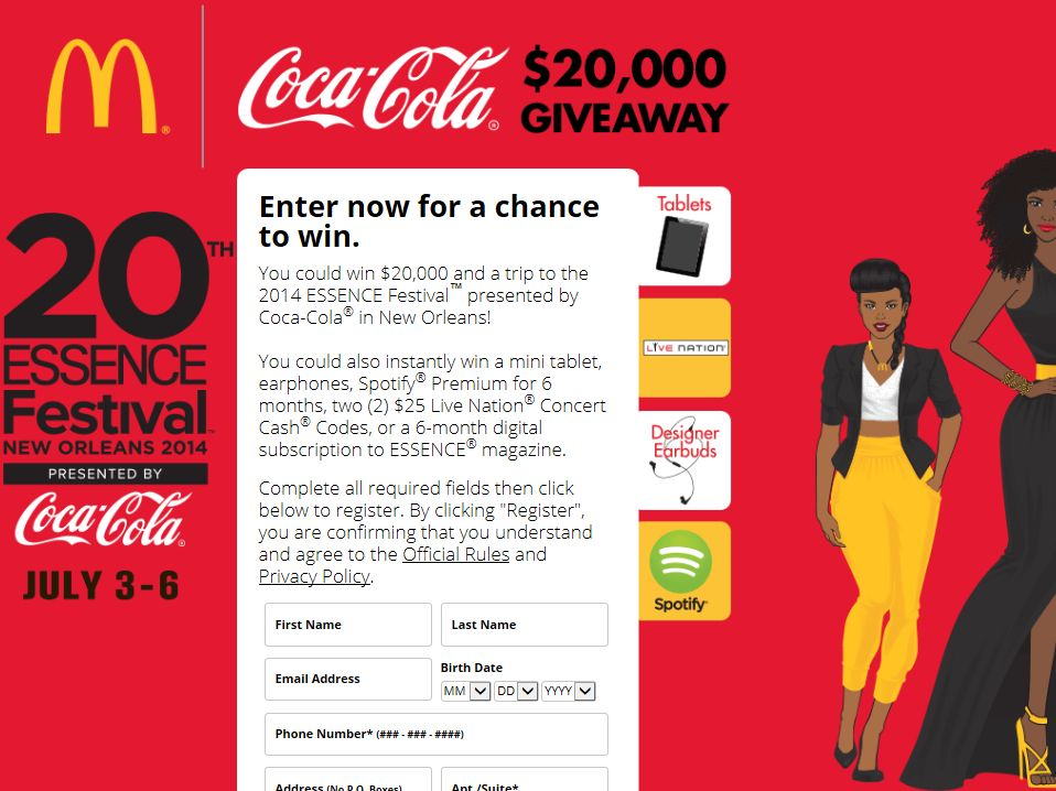 Coca-Cola & McDonald's 2014 ESSENCE Festival 20th Anniversary Sweepstakes