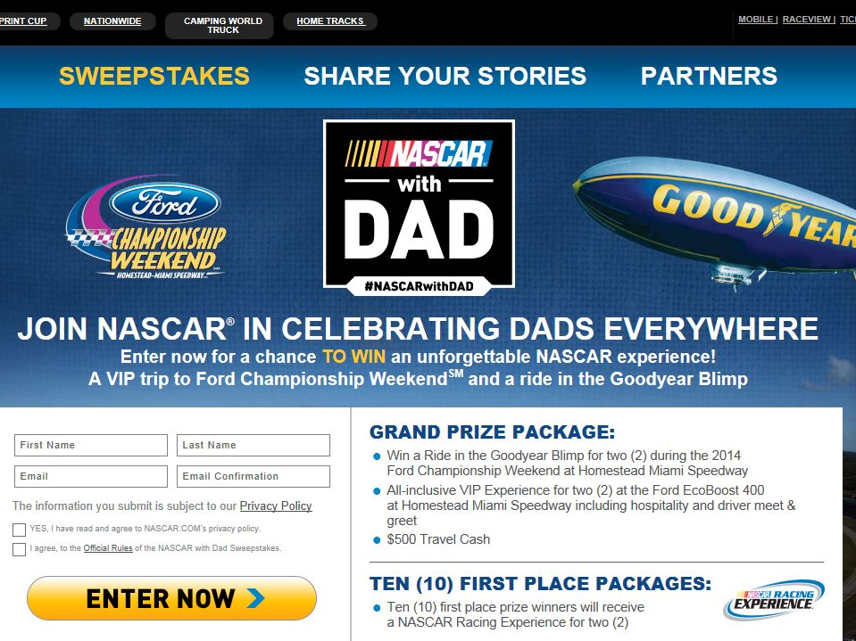 """JHE's """"NASCAR with DAD"""" Sweepstakes"""
