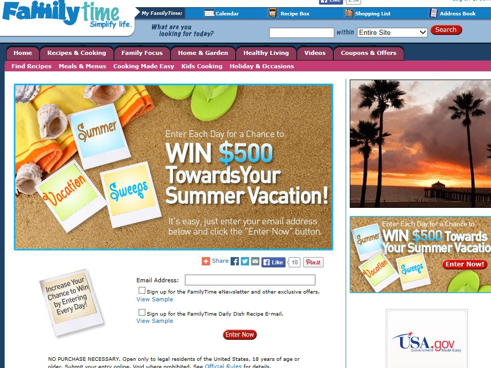 FamilyTime Summer Vacation $500 Cash Giveaway Sweepstakes
