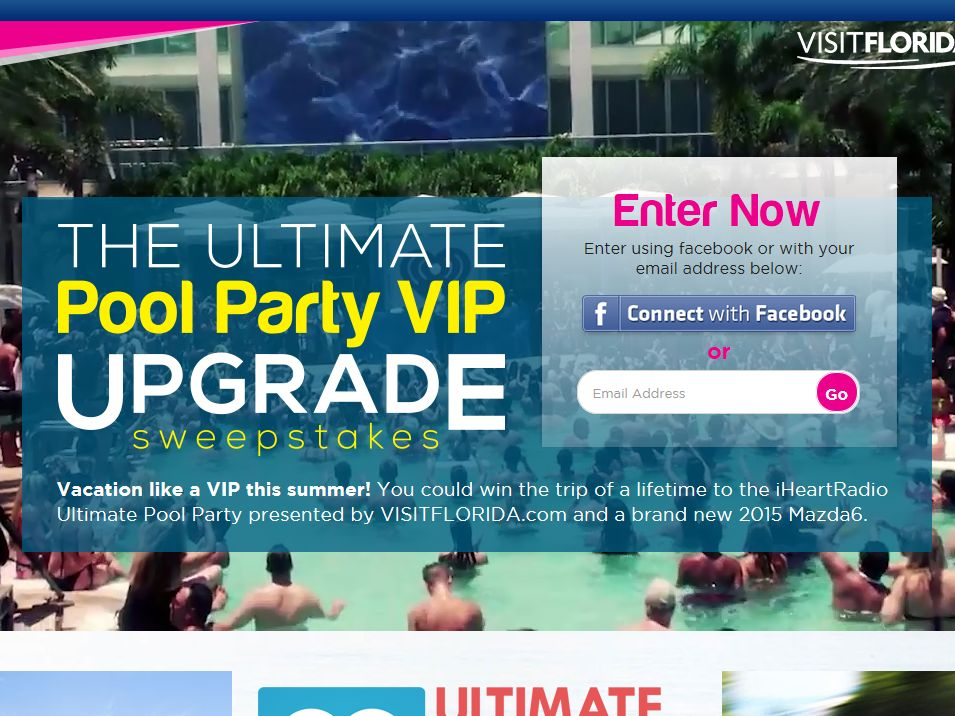 iHeart Radio Ultimate Pool Party VISIT FLORIDA VIP Giveaway Sweepstakes