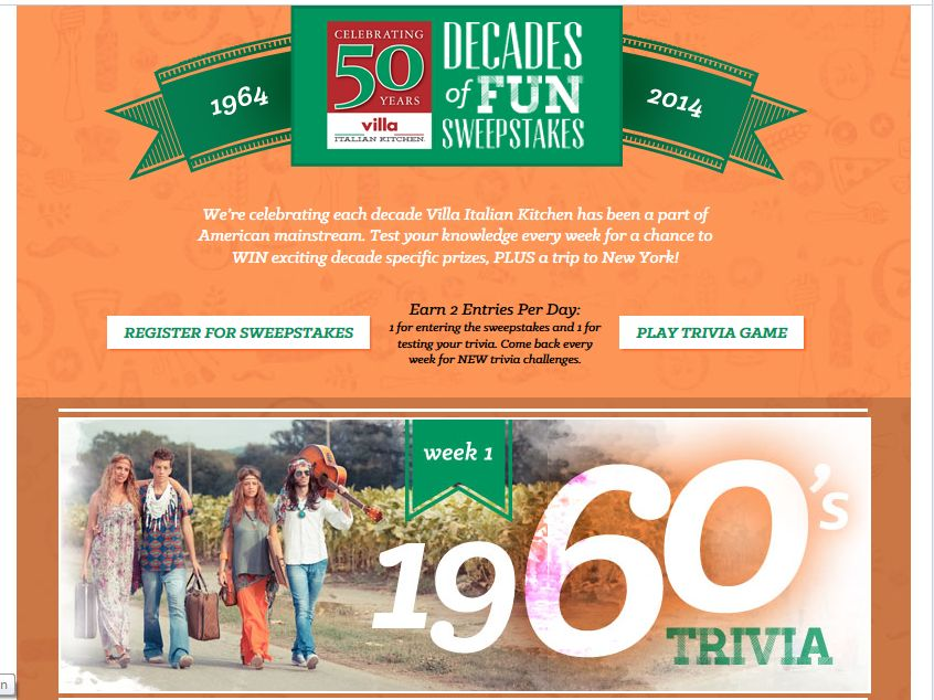 "The Villa Fresh Italian Kitchen ""Decades of Fun"" Sweepstakes"