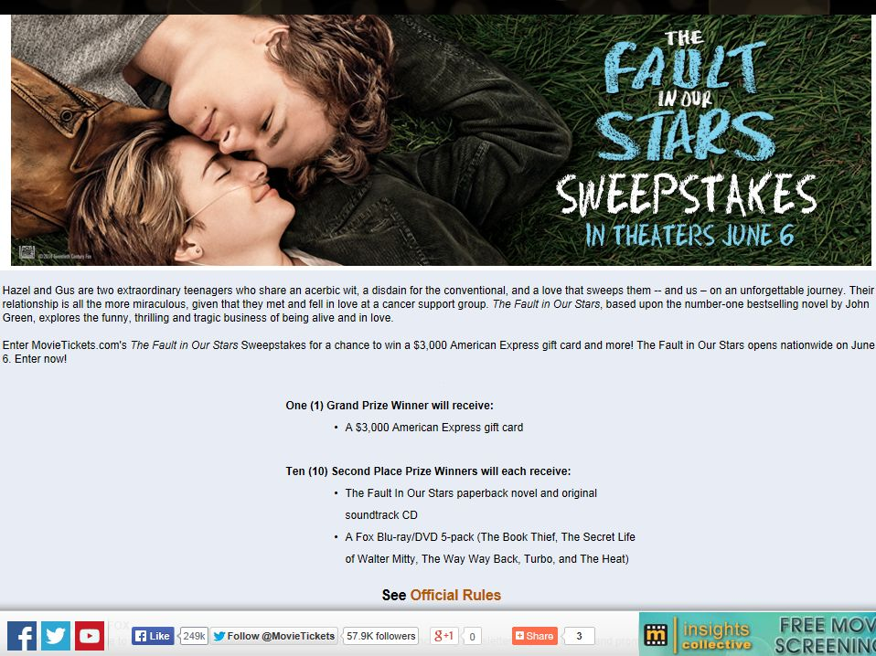 """MovieTickets.com """"The Fault in Our Stars"""" Sweepstakes"""