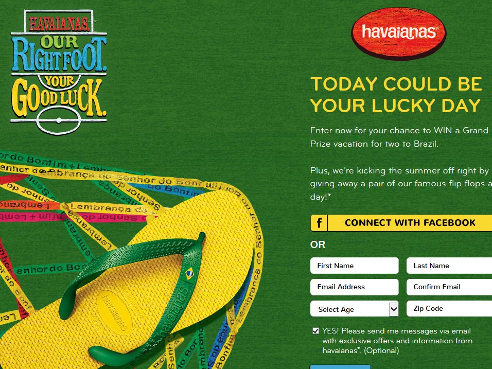 Havaianas Our Right Foot Sweepstakes