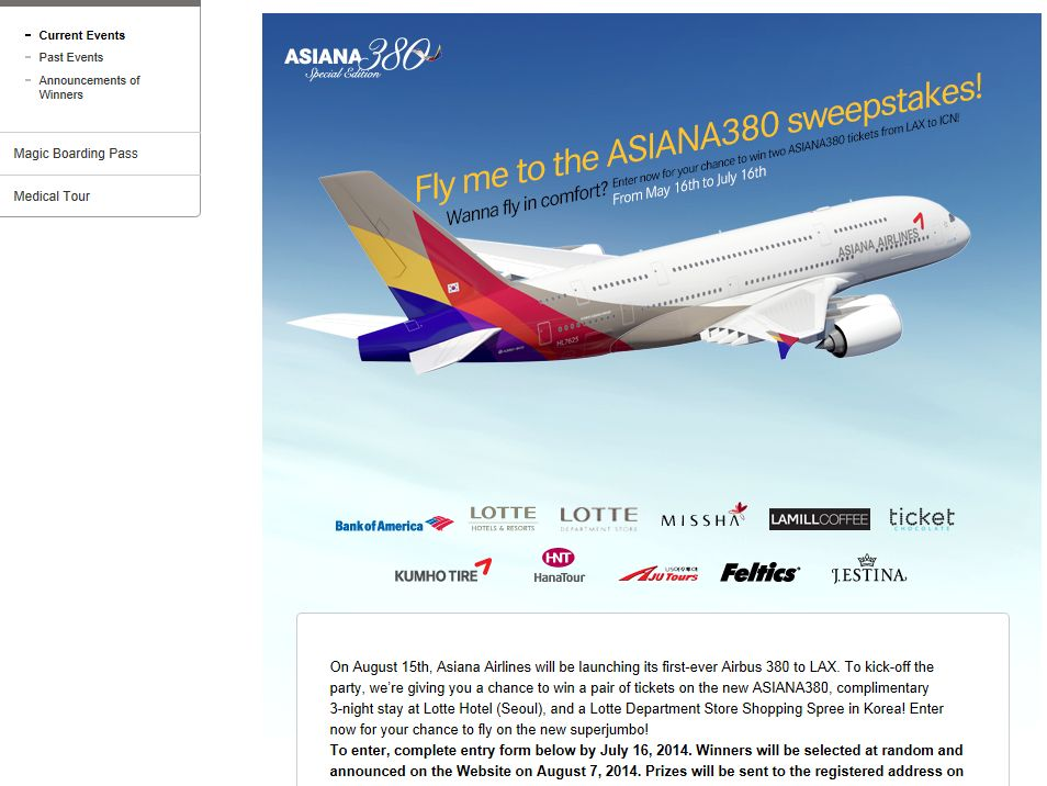 Asiana Airlines' Fly Me to the ASIANA380 Sweepstakes
