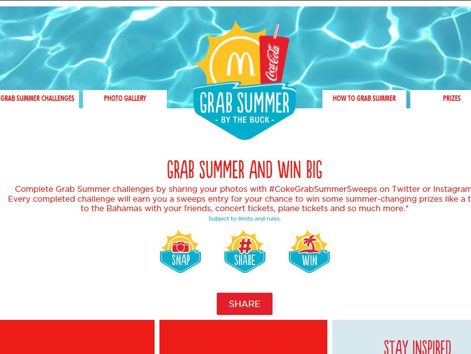 McDonald's & Coca-Cola Grab Summer By the Buck 2014 Sweepstakes