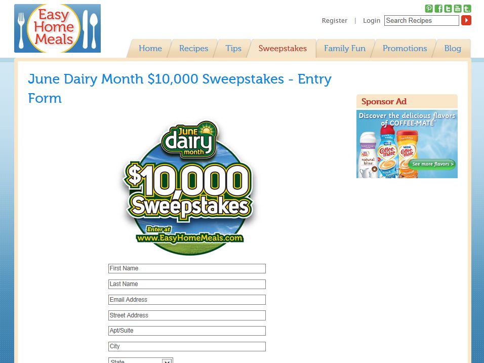 EasyHomeMeals.com June Dairy Month $10,000 Sweepstakes