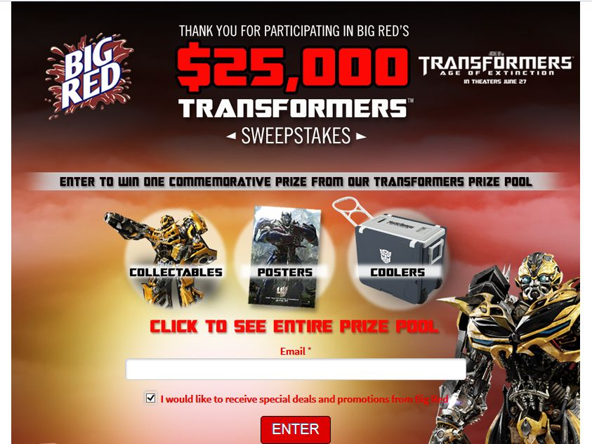 "Big Red $25,000 ""Transformers: Age of Extinction"" Sweepstakes"