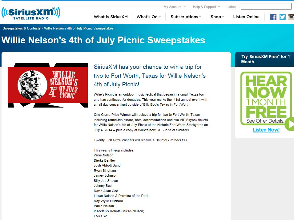 Sirius XM Willie Nelson's 4th of July Picnic Sweepstakes