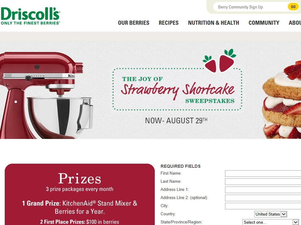 "Driscoll's ""The Joy of Strawberry Shortcake"" Sweepstakes"
