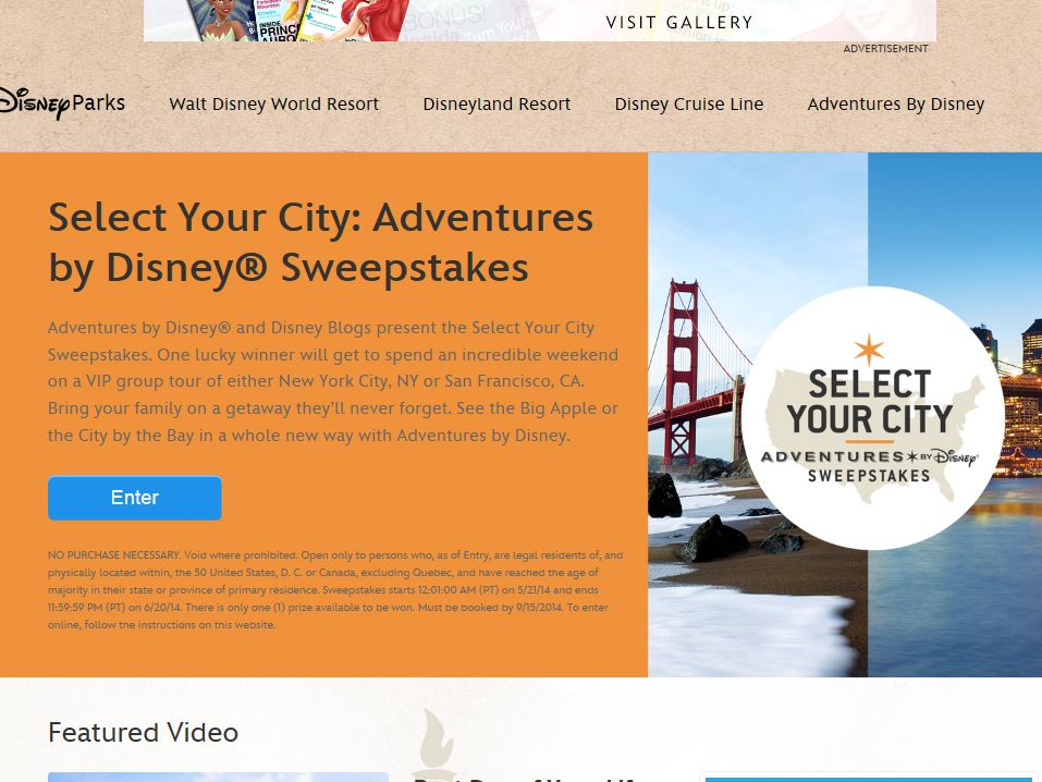 Select Your City: Adventures by Disney Sweepstakes