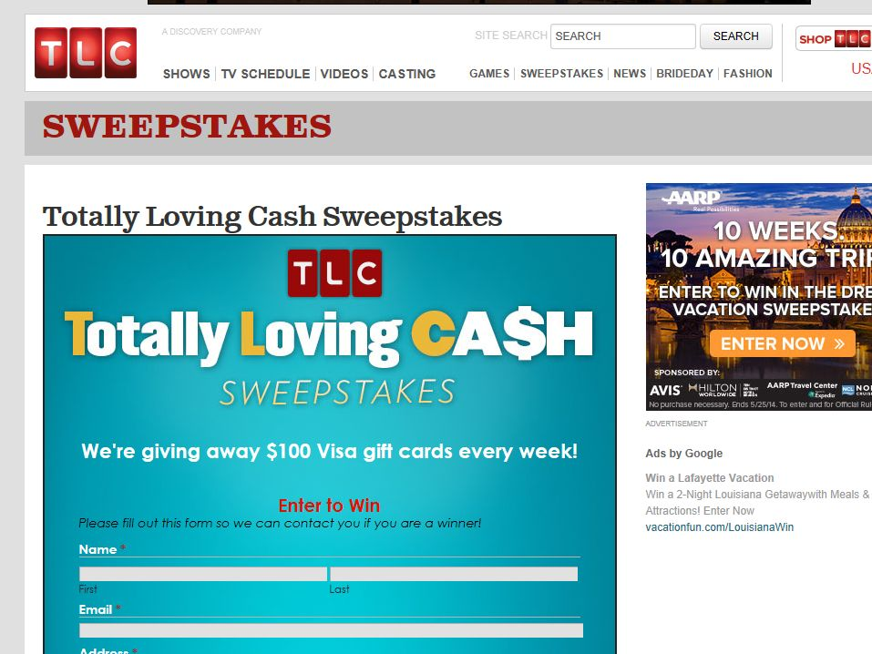 TLC Totally Loving Cash Sweepstakes
