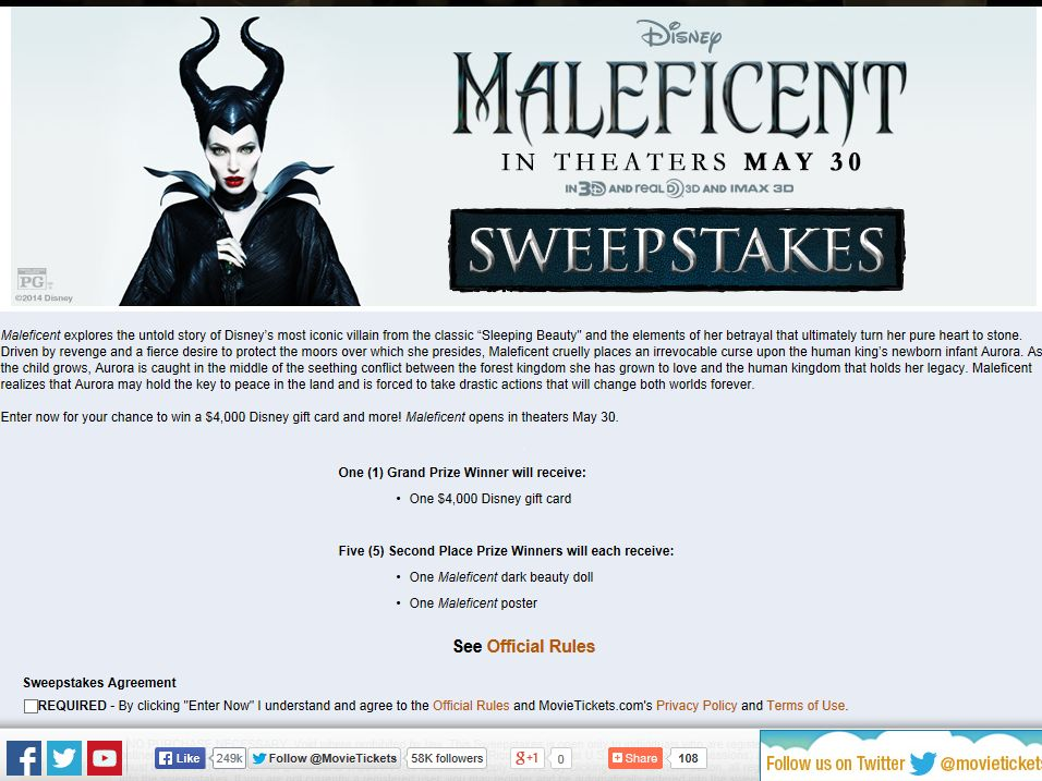 """MovieTickets.com """"Maleficent"""" Sweepstakes"""
