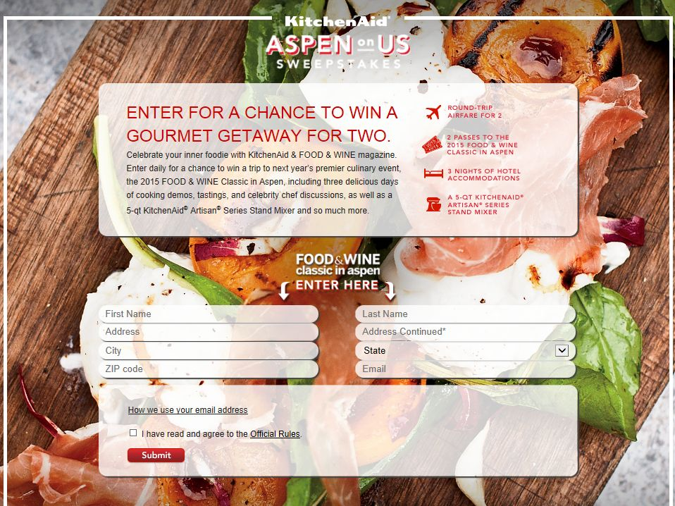 """The """"KitchenAid Aspen on Us Giveaway"""" Sweepstakes"""