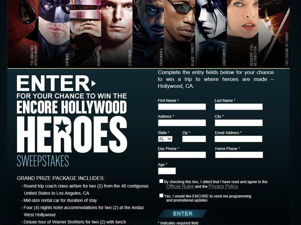 "Encore ""Hollywood Heroes"" Sweepstakes"