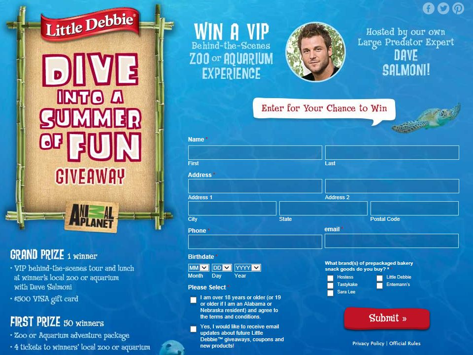Little Debbie/Animal Planet Dive into a Summer of Fun Giveaway Sweepstakes