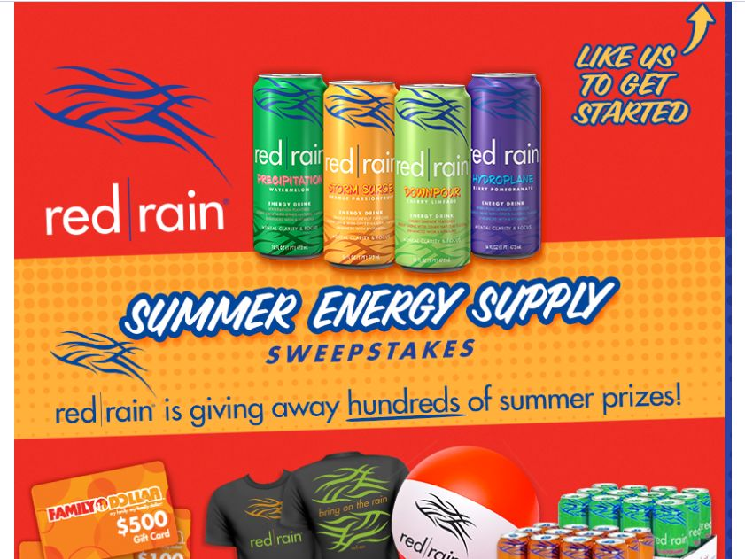 Red Rain Summer Energy Supply Instant Win Game
