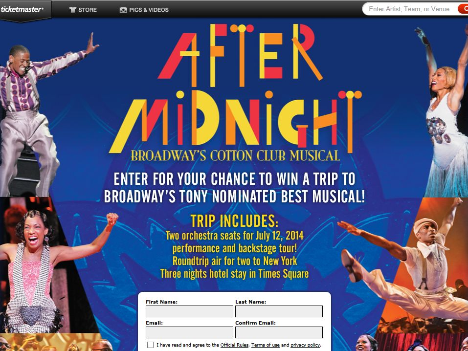 Ticketmaster After Midnight Sweepstakes