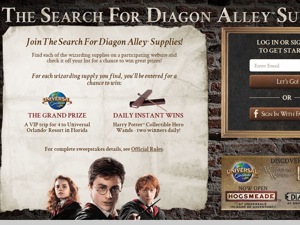 The Search for Diagon Alley Supplies Sweepstakes