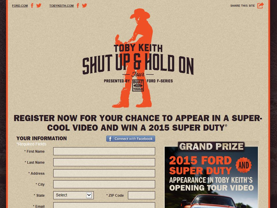 Toby Keith 'Shut Up and Hold On' Sweepstakes