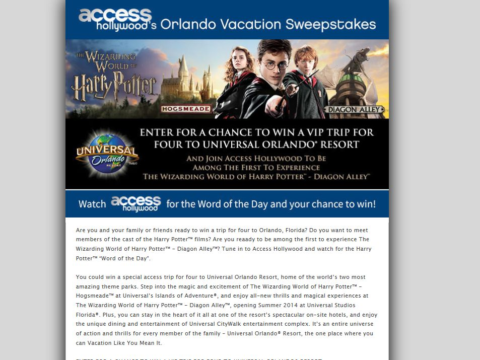 Wizarding world hollywood sweepstakes