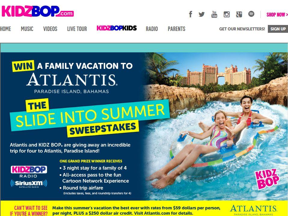 Kidz Bop Atlantis Slide Into Summer Sweepstakes