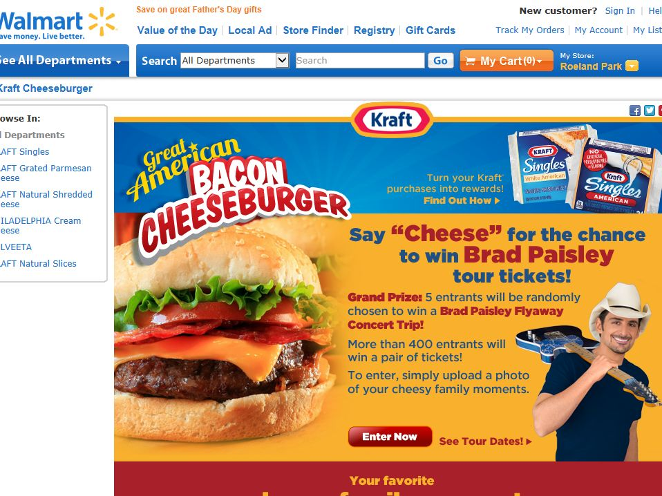 Kraft Brad Paisley Cheeseburger Sweepstakes
