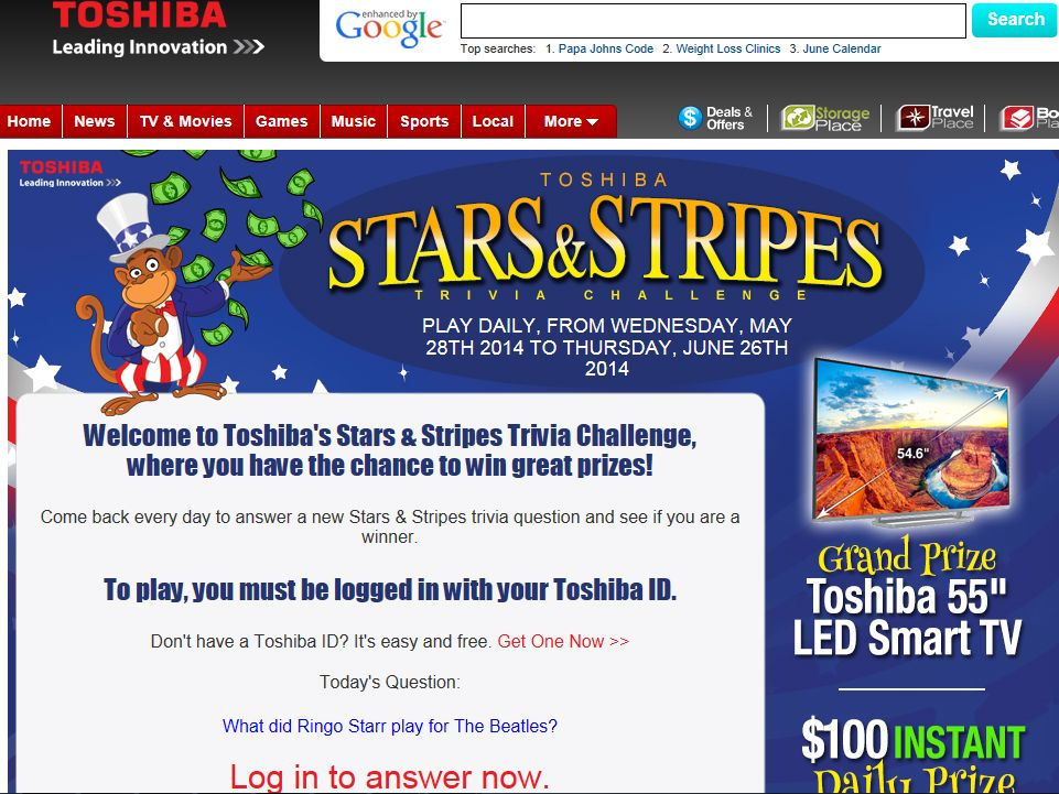 TOSHIBA Stars and Stripes Promotion