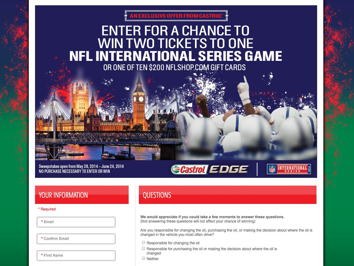 Castrol® NFL London Trip at O'Reilly Auto Parts