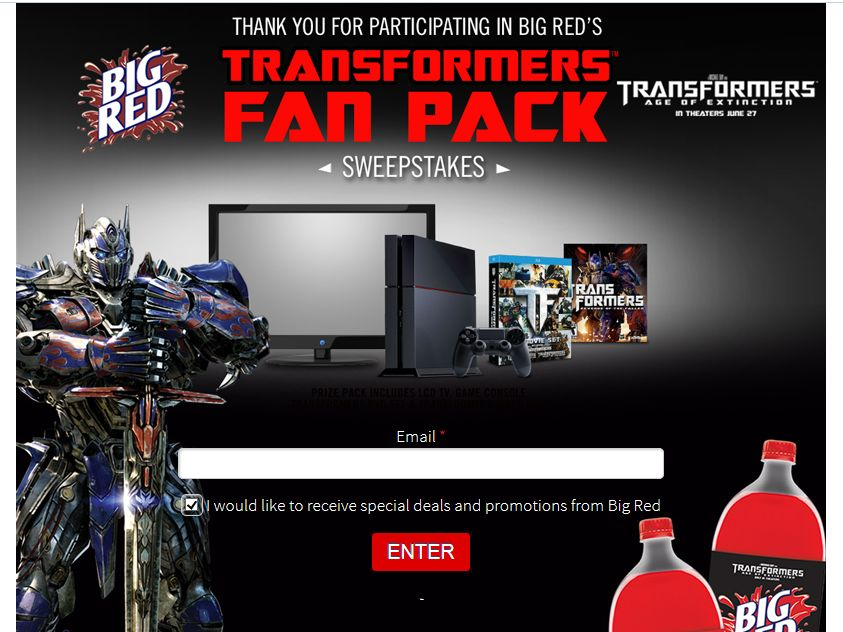 """Big Red Ultimate """"Transformers: Age of Extinction"""" Fan Pack Sweepstakes"""