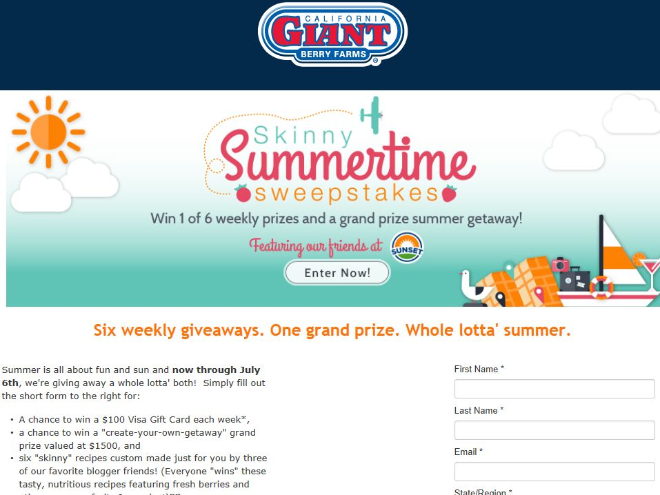 California Giant Berry Farms Skinny Summertime Sweepstakes
