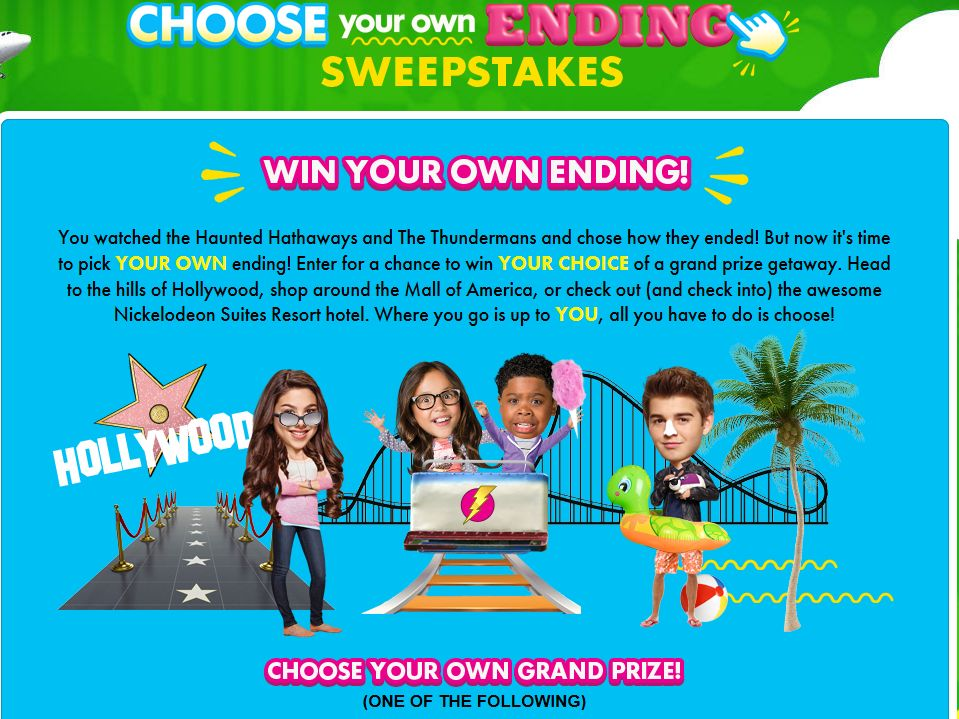 Nickelodeon's Choose Your Own Ending Sweepstakes
