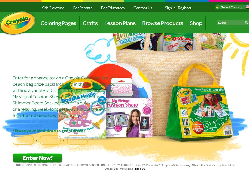 "Crayola ""Color on the Go"" Sweepstakes"