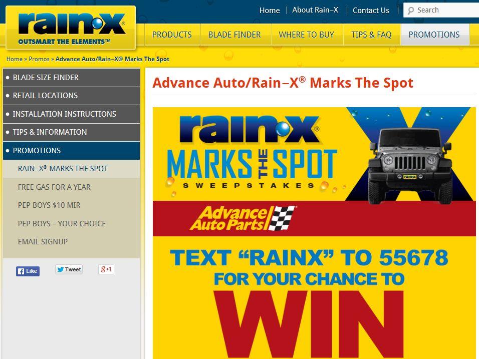 Rain‑X Marks the Spot Sweepstakes