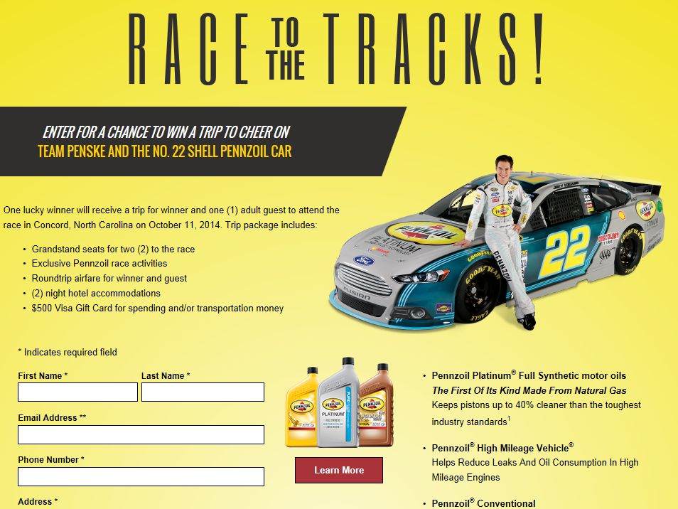 2014 Pennzoil Racing Experience Sweepstakes