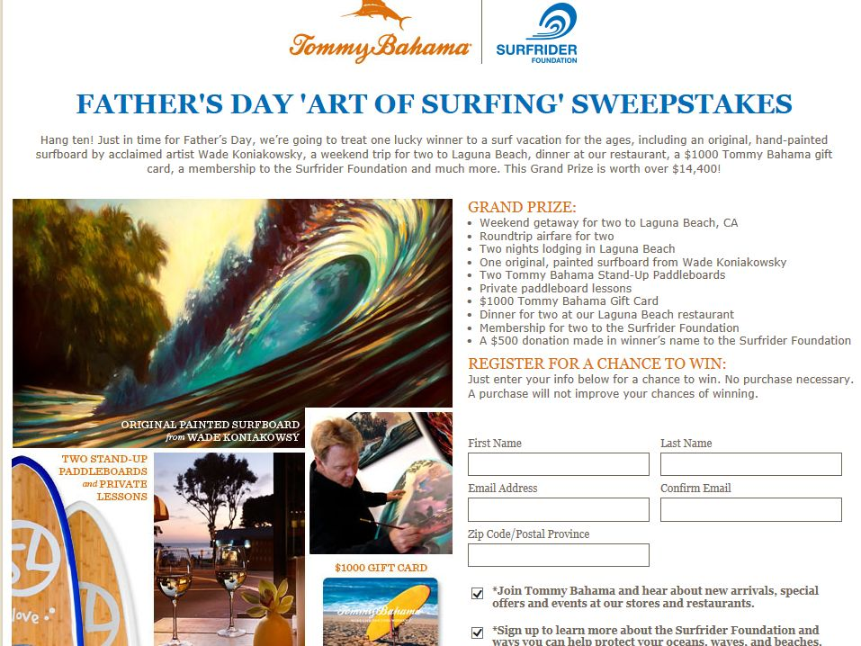 Tommy Bahama Father's Day Sweepstakes