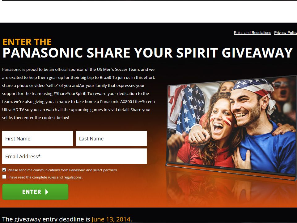 Panasonic Share Your Spirit Giveaway Sweepstakes