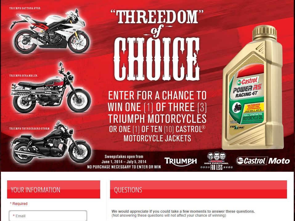 Castrol 2014 Triumph Motorcycle Sweepstakes