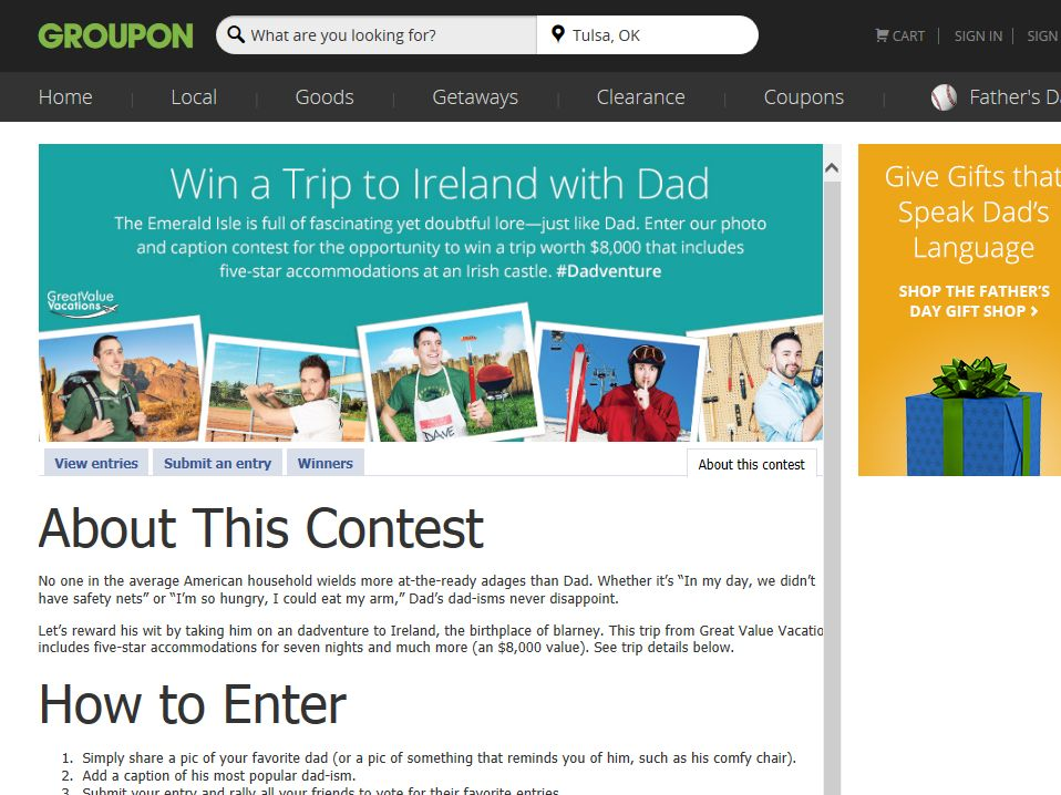 Groupon's Win a #Dadventure to Ireland Contest