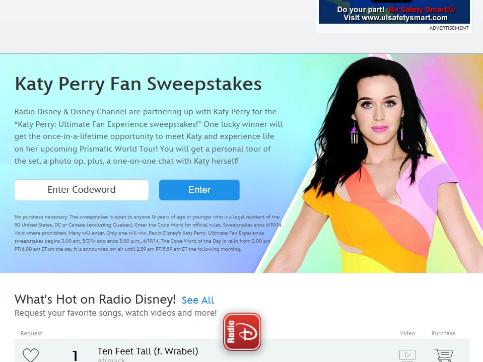 Katy Perry: Ultimate Fan Experience sweepstakes