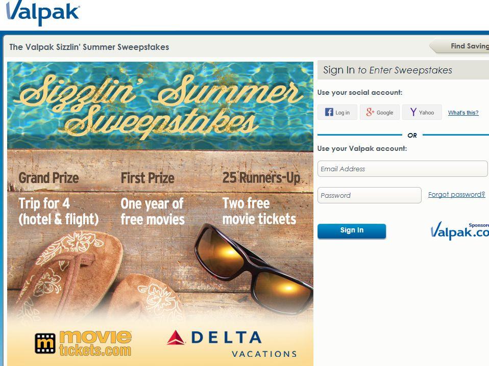 Valpak Sizzlin' Summer Sweepstakes