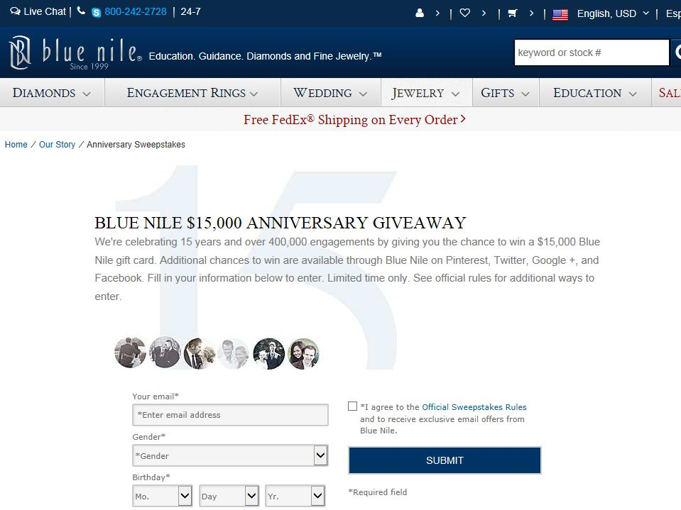 Blue Nile Anniversary Giveaway Sweepstakes